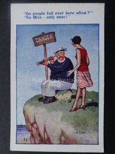Donald McGill Postcard SEASIDE CLIFF TOP - DO PEOPLE FALL OVER HERE OFTEN Old PC
