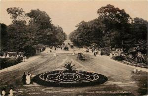 Detroit Michigan~Central Ave Circle Flower Bed~Belle Isle Park~1910 Sepia PC