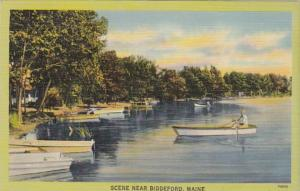 Maine Boating Sceene Near Biddeford 1941