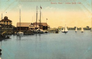 Beverly Massachusetts~Jubilee Yacht Club~Central Fish Co Docks~Sailboats~1908