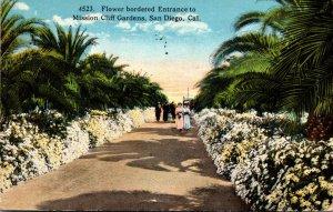 California San Diego Mission Cliff Gardens Flower Bordered Entrance 1921 Curt...