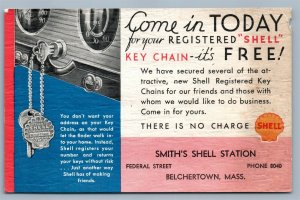 BELCHERTOWN MA SHELL AUTO SERVICE STATION ADVERTISING VINTAGE POSTCARD