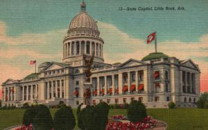Little Rock, Arkansas, AR, State Capitol, 1954 Linen Vintage Postcard f9726