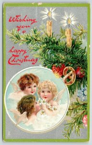 TUCK Christmas~Brundage Baby Angels in Clouds~Candle Pretzel Tree~Silver~Emboss