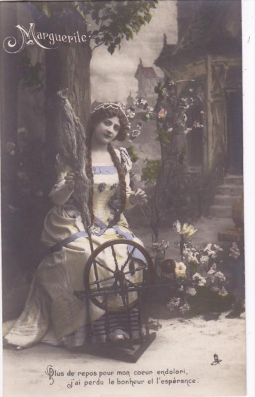 RP; Tinted, Marguerite, Sitting a spinning wheel outside a cottage, 00-10s