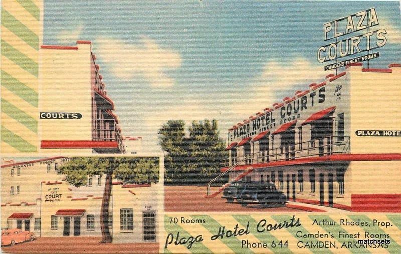 1930s Camden Arkansas Plaza Hotel Courts Linen Democrat Postcard 12366