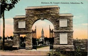 Johnstown PA~St Joseph's Cemetery Entrance~Gate Open~Church~Tombstones~c1910