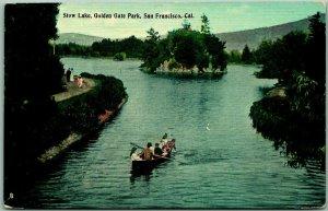 1910s San Francisco Postcard STOW LAKE, Golden Gate Park Boating Scene Unused
