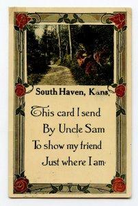 Postcard South Haven Kans. Kansas I Send By Uncle Sam Standard View Card