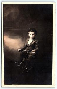 Postcard Studio Real Photo Little Boy on Tricycle RPPC B21