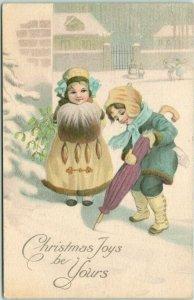 Vintage CHRISTMAS Greetings Postcard Christmas Joys be Yours 1915 Cancel