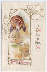 Vintage ThanksgivingTurkey on Fencepost J Herman Postcard  Embossed Litho 1912