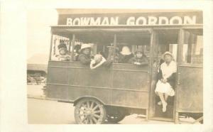 1920s Bus Passengers Bowman Gordon Store Street View RPPC Real Photo