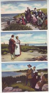 P160 JLs 1930-45 postcard pilgrim linen unused nice