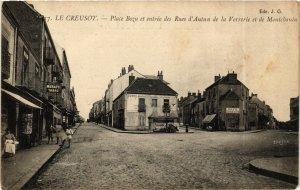 CPA LE CREUSOT Place Bozu et entrée des Rues dAutun de la Verriere (868861)