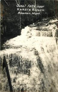 RPPC Ousel Falls near Karst's Ranch, Present Day Big Sky MT Bozeman Montana