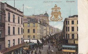 GLASGOW, Scotland; Argyle Street looking East, Gold coat of Arms, Street Cars...
