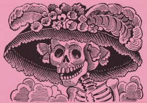 La Catrina Mexican Zombie Day Of The Dead Film Painting Postcard