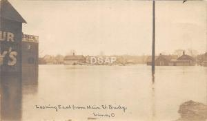 C45/ Lima Ohio Postcard Real Photo RPPC 1913 Flood Disaster Main St Bridge