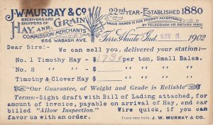 TERRE HAUTE, Indiana, 1902 ; J.W. Murray & co. Hay & Grain Merchant