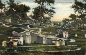 China Chinese Cemetery Published in Hongkong Hong Kong c1910 Postcard chn