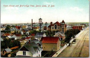 1910s DEVILS LAKE North Dakota Postcard Court House and Bird's-Eye View Unused