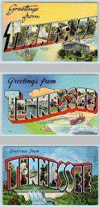 3 Large Letter Linens TENNESSEE,TN ~ Tichnor-Colourpicture-Kropp 1940s Postcard