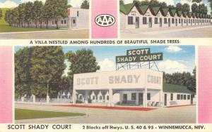 Winnemucca Nevada~Scott Shady Court~Villa in Trees~1950s Linen Postcard