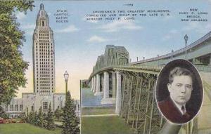 Louisianna Baton Rouge Louisiana state Capitol And New Huey P.Long Bridge