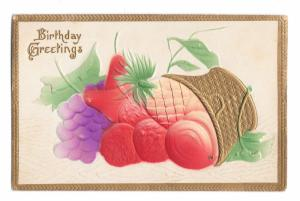 Birthday Greetings Gold Gilded Basket Airbrushed Fruit Embossed Vintage Postcard