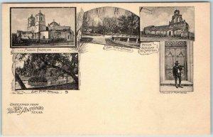 San Antonio, TX Postcard Multi-View Missions & San Pedro Springs c1900s UNUSED