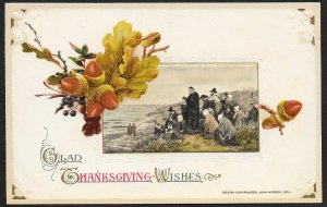 Glad Thanksgiving Wishes Pilgrims Gathered at Shore Unused Winsch c1910s