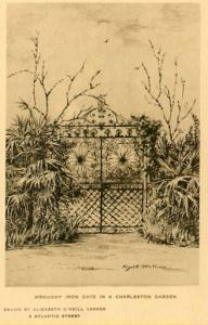 SC - Charleston, Wrought Iron Gate in a City Garden   Artist Signed: Elizabet...