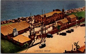 1933 CHICAGO WORLD'S FAIR Expo Postcard LINCOLN GROUP Building Aerial View