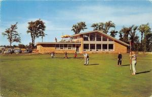 Gaylord Michigan~Country Club House & Golf Course View~Golfers~50s Cars~Postcard