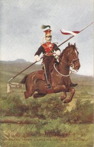 The Royal Irish Lancers . Jumpig Obstacle Tuck Oilette PC # 9367