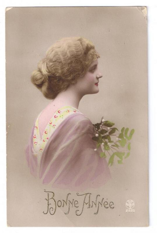 Bonne Annee Beautiful Woman Mistletoe Tinted RPPC Noyer