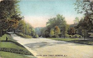 Geneva New York~South Main Street~Fire Hydrant by Trees~1908 Postcard