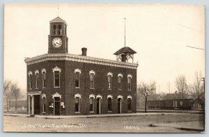 Fairbury Illinois~City Hall Sits Alone~Clock Tower~Belfry~c1914 CR Childs RPPC
