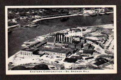 S BREWER MAINE ME Pulp Paper Mill Factory Postcard PC