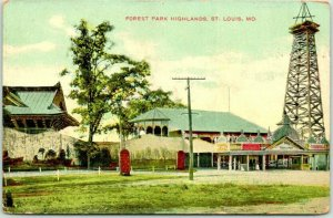 ST. LOUIS, Missouri Postcard FOREST PARK HIGHLANDS Amusement Park 1910 Cancel