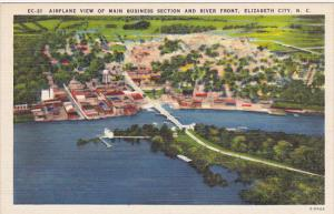 North Carolina Elizabeth City Airplane View Business Section and Riverfront
