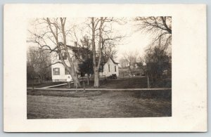 Galva Illinois~Auntie May in Front of Her House~Friend With Camera~1908 RPPC