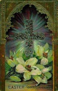 Easter Greetings Flowers Cross 1912 Embossed Postcard