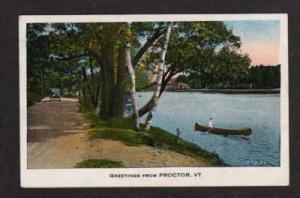 VT Greetings from PROCTOR VERMONT Postcard PC Canoe