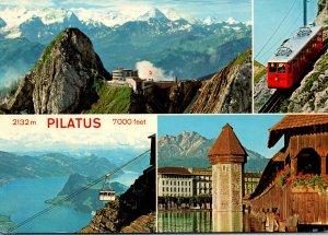 Switzerland Luzern mit Berner Alpen Pilatus-Kulm und Schwebebahn