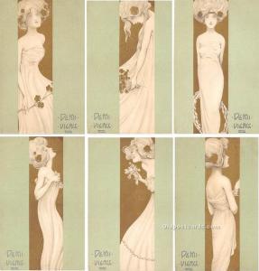 6 card Set - Demi Vierge Marque L-E Set of 6 cards Artist Raphael Kirchner Un...