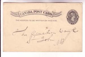 Victoria Postal Stationery Card, Westville NS Split Ring 1898 Cancel, Canadia...
