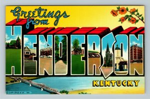 Henderson KY- Kentucky, Large Letters, General Greetings, Chrome Postcard