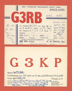 QSL VINTAGE AMATEUR RADIO CARDS – ENGLAND – 2 DIFFERENT – 1947/1949 (4)
